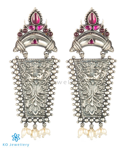 The Srjati Silver Antique Earrings (Oxidised/Red)