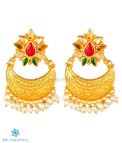 The Kshitij Silver Navratna Chand Bali Earrings