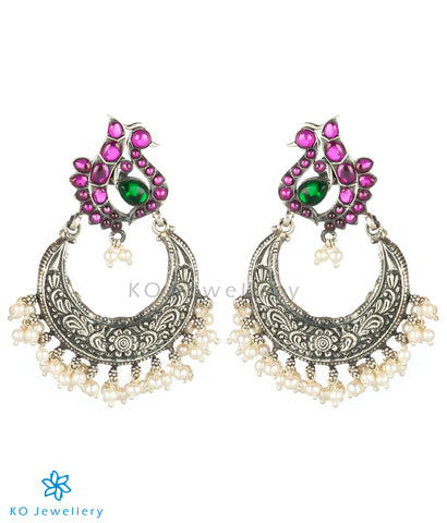 The Lasaka Silver Peacock Chand-Bali Earrings (Oxidised)