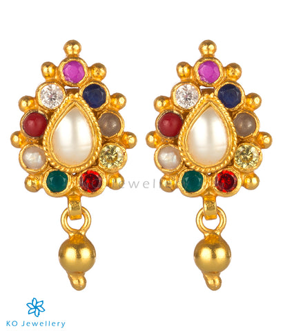 The Dvidha Silver Reversible Earrings(Navratna)