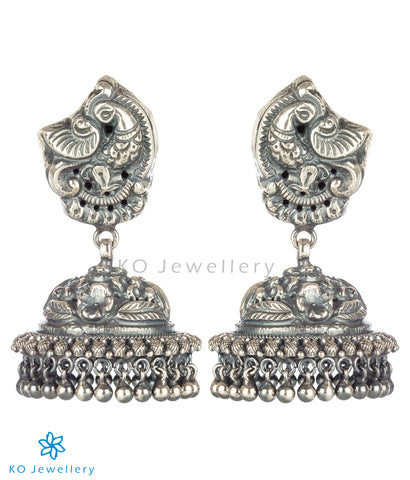The Nrtu Nakkasi Silver Peacock Jhumka