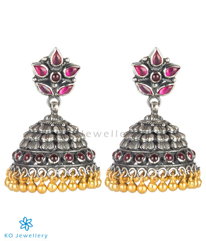 The Anandita Silver Kempu Jhumka(Two Tone)