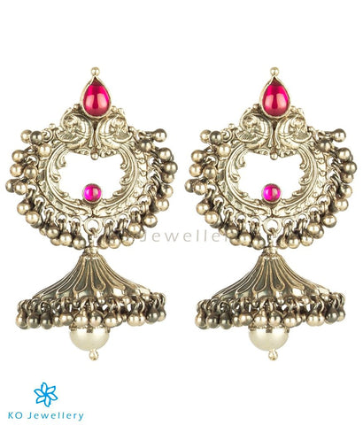 The Tanuruha Silver Parrot Jhumka (Oxidised)
