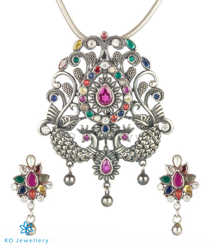The Mayil Silver Navarthna Peacock Pendant(Oxidised)