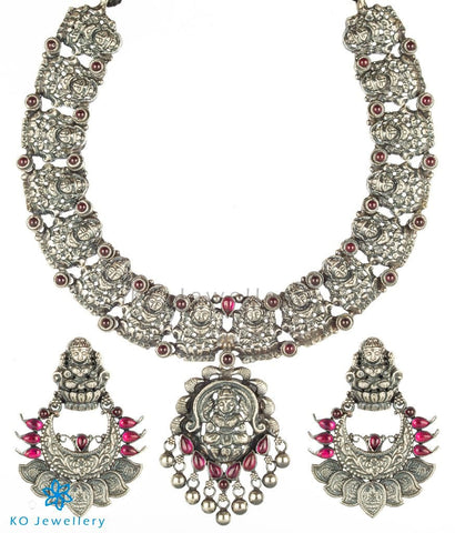 The Padmakshi Antique Silver Lakshmi Necklace