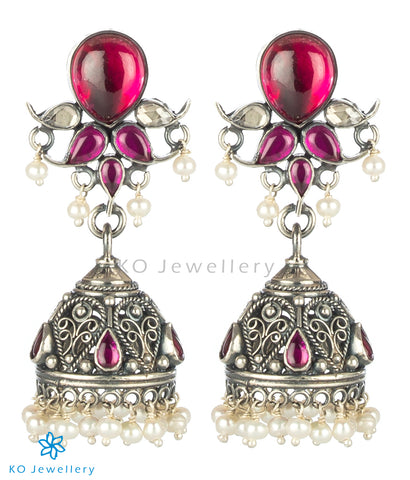 The Mrinalini Silver Jhumka (Oxidised/Push)