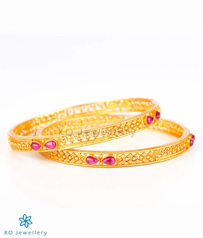 The Ramyati Silver Bangle(Red)