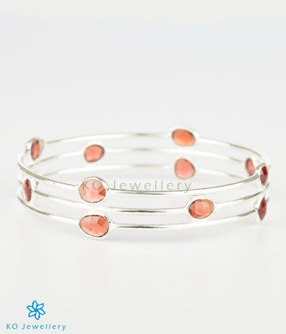 The Garnet Drops Silver Bangle (Oval)