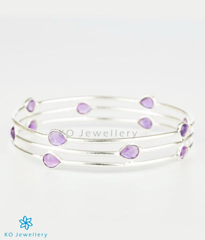 The Amethyst Drops Silver Bangle