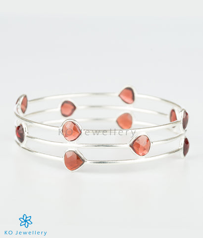 The Garnet Drops Silver Bangle