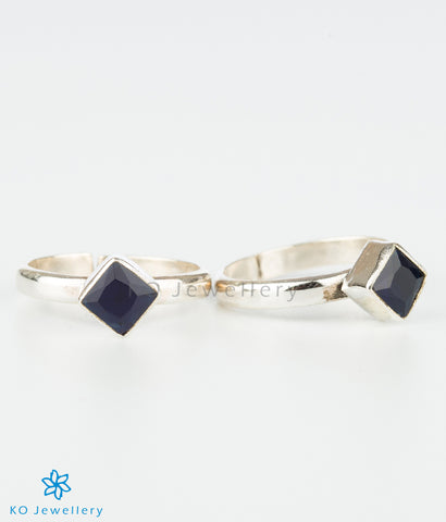 The Pratik Silver Toe-Rings (Dark Blue)
