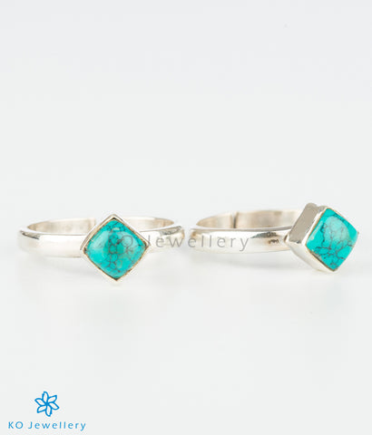 The Pratik Silver Toe-Rings (Turquoise)