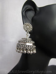 Pure silver jhumkas handrafted and oxidised shop online
