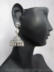 Pure silver jhumkas handcrafted and oxidised shop online
