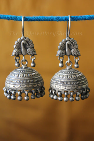 vintage peacock jhumka silver online shopping