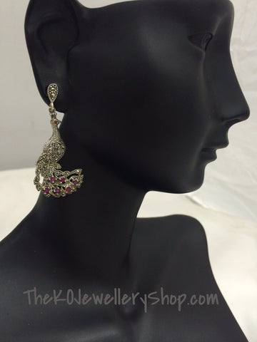 The Sparkling Peacock Earrings