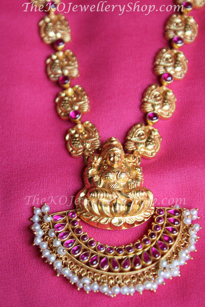 948404025 The Pushpalakshmi gold plated Silver Necklace Set. - KO Jewellery