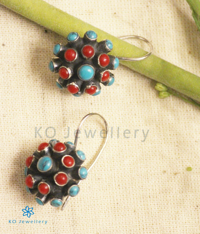 The Sraj Silver Earrings (Coral/Turquoise)