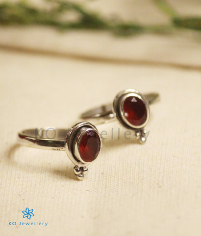 The Abhith Silver Toe-Rings (Red)