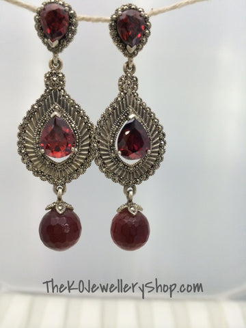 Chandaleir earring pure silver marcasite with ruby studded buy online