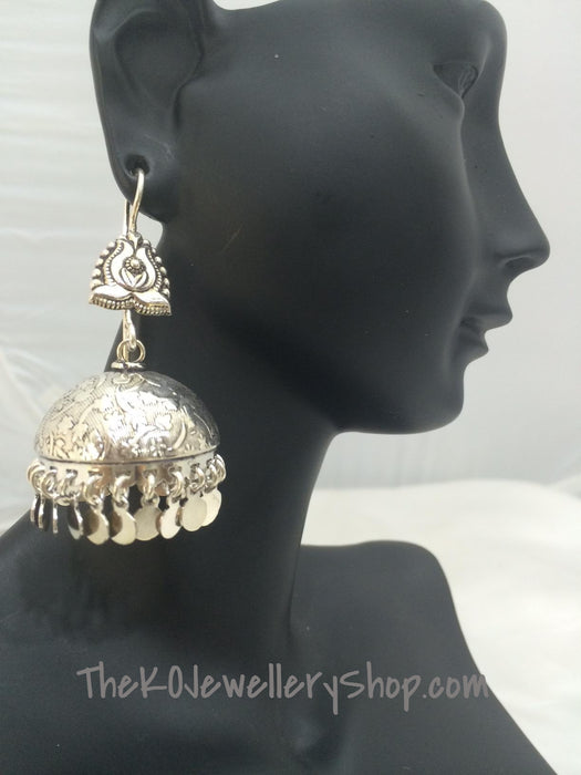 shiny sterling silver jhumka online shopping