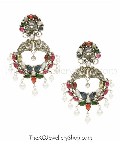 Hand crafted silver navratna earrings shop online