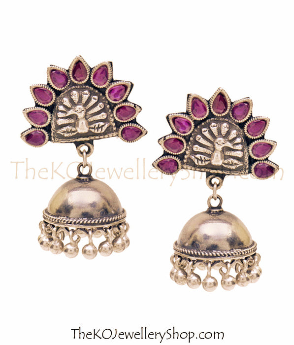 The Galavrata Silver Peacock Jhumka