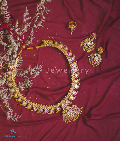 Purchase gold plated silver temple necklace set online