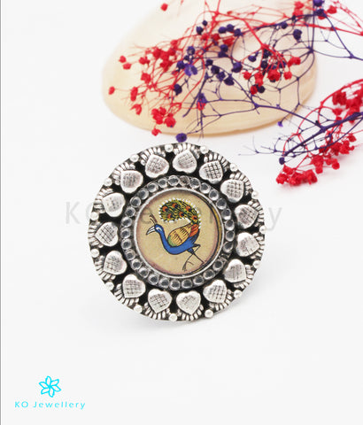 The Vama Silver Peacock Finger Ring
