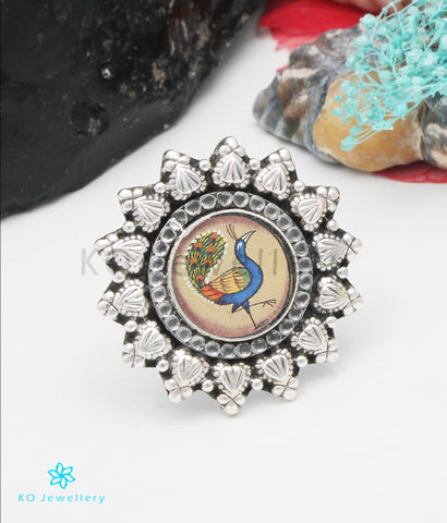 The Navilu Silver Peacock Finger Ring