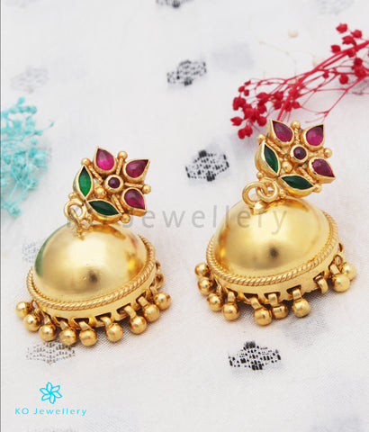 The Rishita Silver Kempu Jhumka (Red/Green)