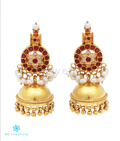 The Vratala Silver Pearl Jhumka (Red)