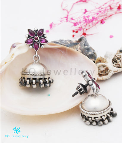 The Thusha Silver Kempu Jhumka (Oxidised)