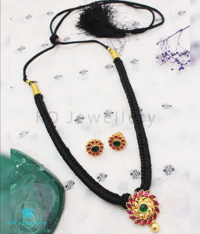 The Aamod Silver Kempu Necklace (Black)