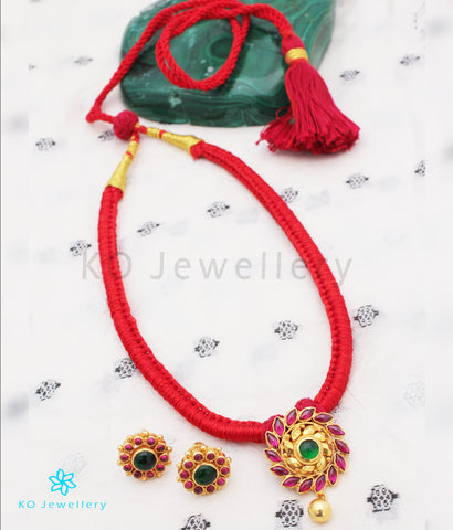 The Aamod Silver Kempu Necklace (Red)