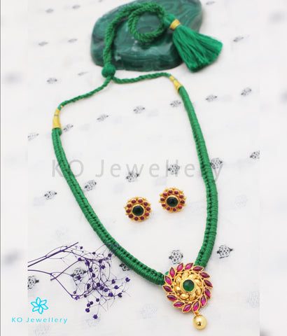 The Aamod Silver Kempu Necklace (Green)