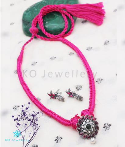 The Aamod Silver Kempu Necklace (Pink/Oxidised)