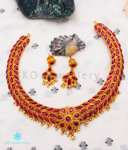 The Ahana Silver Kempu Necklace
