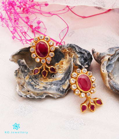 The Kannaki Silver Earstuds (Red/White)