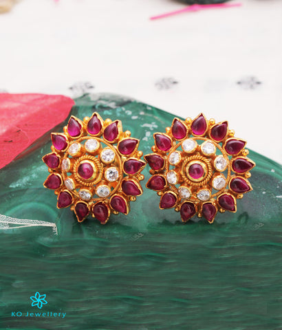 The Kavika Silver Earstuds (Red/White)