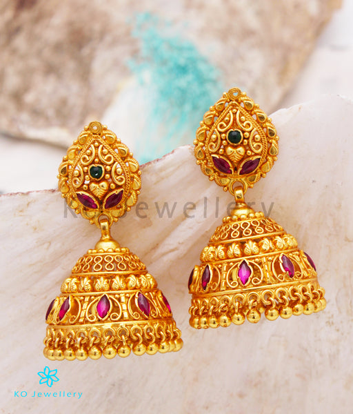 Jhumkas: Gold Plated Silver Temple Jewellery