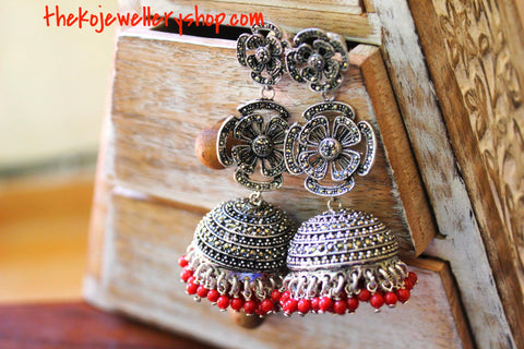 Red Jhumka in silver with Swiss Marcasite