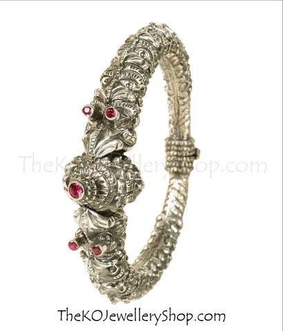 Shop online for women's silver  navratna kada jewellery