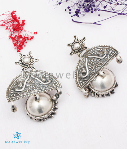 The Kundalin Silver Peacock Jhumkas