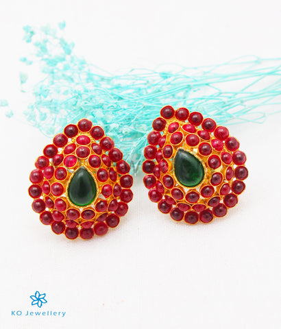 The Rudhira Silver Earstuds (Red)