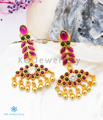 The Varsha Silver Kempu Earrings (Red/Green)