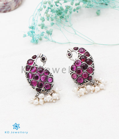 The Mayur Silver Peacock Earrings(Oxidised)