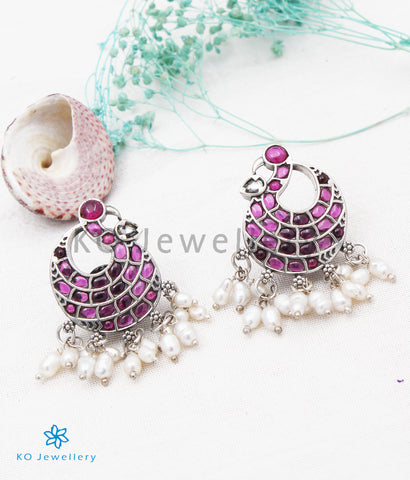 The Sharanya Silver Peacock Earrings(Long pearls/Oxidised)