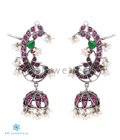 The Lasya Silver Peacock Ear-Cuff Jhumka
