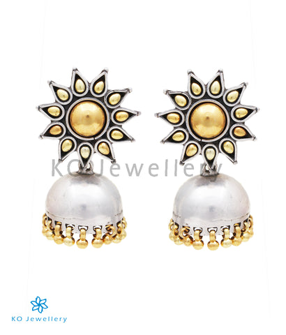 The Surya Silver Jhumka (Two tone)